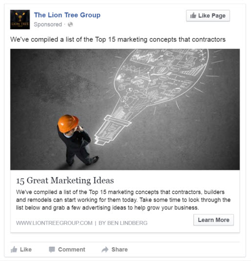 Facebook Send People to Your Website Ad